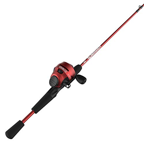 Zebco Slingshot Spincast Reel and Fishing Rod Combo, 5-Foot 6-Inch 2-Piece Fishing Pole, Size 30 Reel, Right-Hand Retrieve, Pre-Spooled with 10-Pound Zebco Line, Red