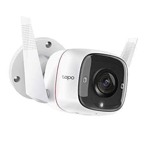 TP-LINK Tapo C310, cámara de seguridad Wi-Fi para exteriores, definición de 3MP, alarma de luz y sonido, visión nocturna, funciona con Alexa
