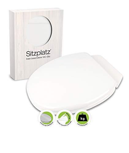 SITZPLATZ WC-bril Rimini II met achterplank, wit, toiletbril met houten kern, standaard O-vorm universeel, comfort wc-deksel & wc-bril, wc-deksel met robuuste houten kern, wit, 40497 6