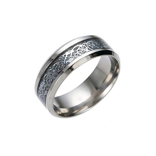 Amesii, anello da uomo, alla moda, in titanio e acciaio, superficie liscia, per matrimonio, regalo e Lega, 22, colore: Silver + Silver, cod. AME