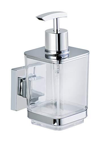 WENKO Vacuum-Loc Seifenspender mit Wandhalterung Quadro, Pumpspender ohne bohren für Bad und Küche, rostfreie Edelstahl Halterung und transparenter Seifendosierer aus Kunststoff, 7.5 x 16 x 10 cm