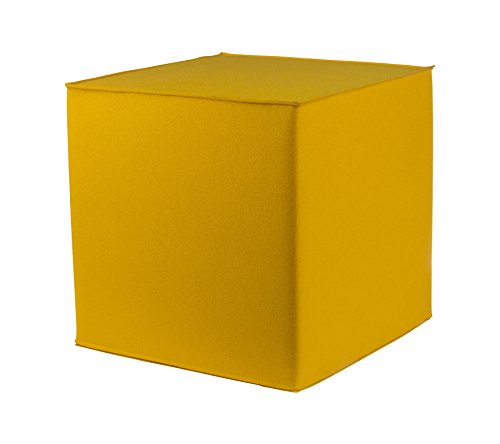 myFilz - Pouf cube 45 x 45 x 45 cm en feutrine de 3 mm - jaune