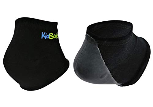 KidSole Gel Heel Strap for Kids with Heel Sensitivity from Severs Disease, Plantar Fasciitis. (Black) (Kids Sizes 1-6, Black)