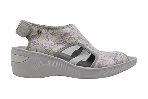 BZees Womens Dream Fabric Peep Toe Beach Platform Sandals, White, Size 9.0