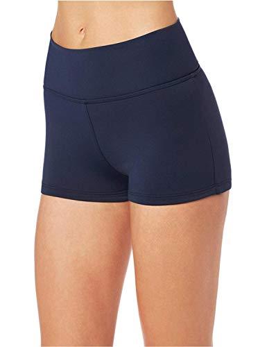 Seafolly Women's High Waisted Roll Top Boyleg Bikini Bottom Swimsuit, Indigo, 14 US