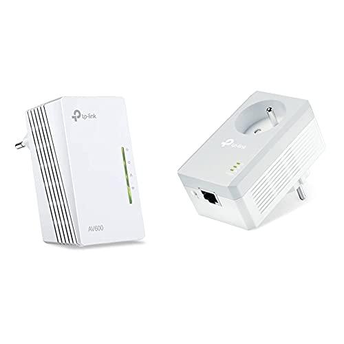 TP-Link TL-WPA4220 CPL 600 Mbps WiFi 300 Mbps, 2 Ports Fast Ethernet & CPL 600 Mbps avec Prise Intégrée et Ports Ethernet, Prise CPL, TL-PA4015P