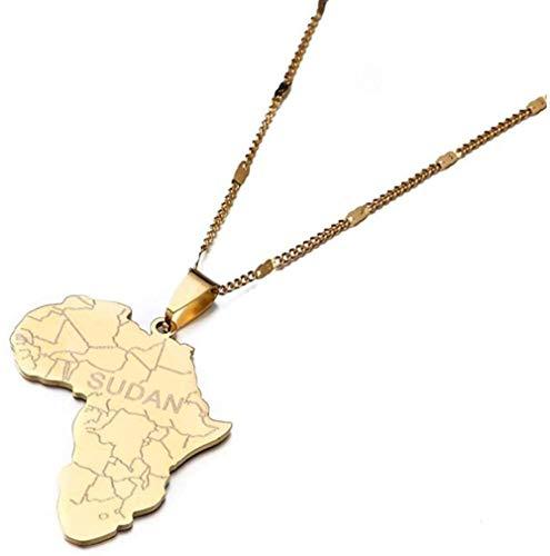 JSYHXYK Collar Mapa De África con Collares Pendientes De Sudán para Mujeres Y Hombres Color Dorado Mapas Africanos Joyería