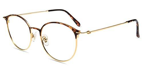 Firmoo Panto Blaulichtfilter Brille ohne Sehstärke für Damen Herren, Anti Blaulicht Computer Schutzbrille, Erleichtern der Augen-/Kopfschmerzen, Metallbrille, Rahmenbreite 140mm, Leopard