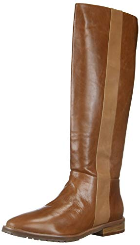 LFL by Lust For Life Mindset Leather Stacked Heel Mid Calf Riding Boot (Cognac, 10)