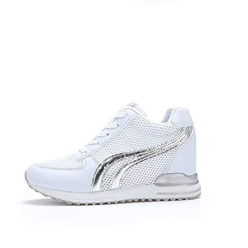 AONEGOLD Zapatillas de Cuña para Mujer Zapatillas de Deporte Zapatillas Altas Primavera/Verano Tacón Cuña 7CM(Blanco,37 EU)