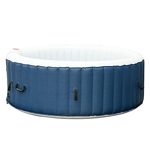 Outsunny Vasca Idromassaggio Gonfiabile da Esterno 100 Getti e Riscaldamento 40°C per 4-6 Persone Φ208x65cm Bianco e Blu