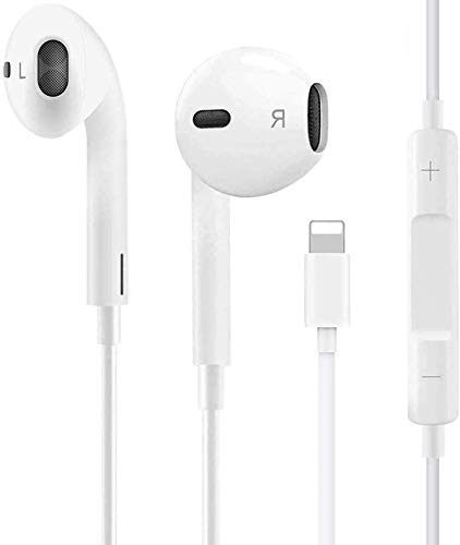 Earbuds Earphones Wired Headphone with Microphone and Volume Control, Compatible with iPhone 11 Pro Max/Xs Max/XR/X/7/8 Plus (White)