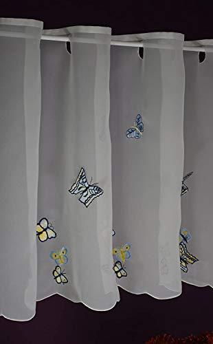 Hossner Scheibengardine Schmetterling Bistrogardine Kurzstore Cafehausgardine Voile Bestickt Landhaus Shabby 50/120 cm weiß-bunt