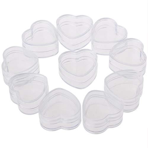 JunYe 10pieces Cas en Plastique de Forme de Coeur de boîte de crème de Caisse cosmétique Contenant Transparent de Maquillage