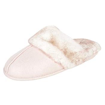 Jessica Simpson Women s Comfy Faux Fur House Slipper Scuff Memory Foam Slip on Anti-Skid Sole Pink Medium
