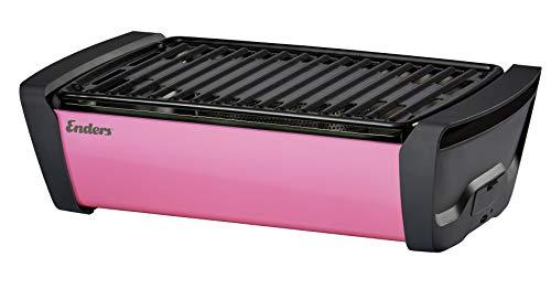 Enders 1370 Aurora raucharmer Tischgrill, mobiler Holzkohle-Grill, kleiner Grill, rauchfreier Tischgrill, Balkon-Grill, Picknick-Grill, Camping-Grill, Grill mit Belüftung , pink