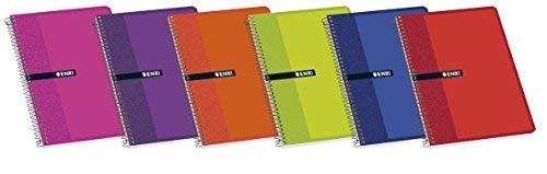 Enri 100430102 Set di 10 quaderni con rilegatura a spirale semplice, quadretti, copertina morbida, colori assortiti