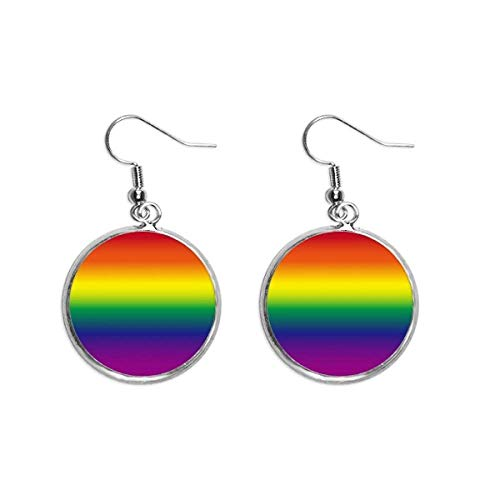 Gradient LGBT Regenboog Homo Oor Dangle Zilver Drop Oorbel Sieraden Vrouw