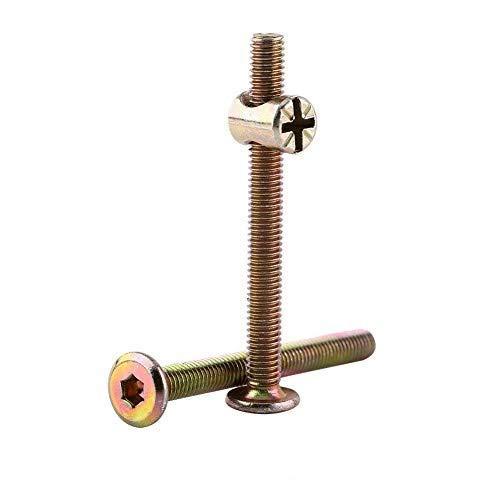 10pcs M6 Carbon Stahl Möbel Schrauben mit Fass Nuts Dowel Mutter Connector Fastener, Plain Finish(80mm)