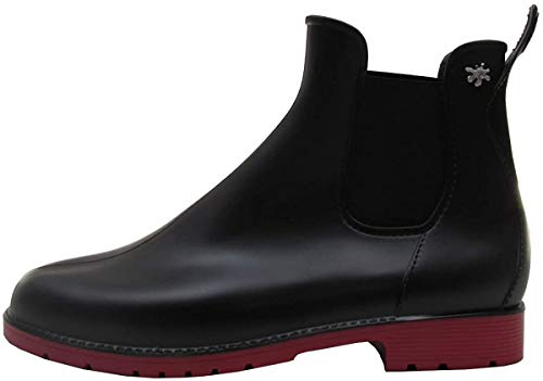 [メデュース] jumpy サイドゴア ブーツ レインブーツ レインシューズ ショート サイドゴア ラバーブーツ 靴 メンズ レディース (NOIR/ROUGE, measurement_24_point_0_centimeters)