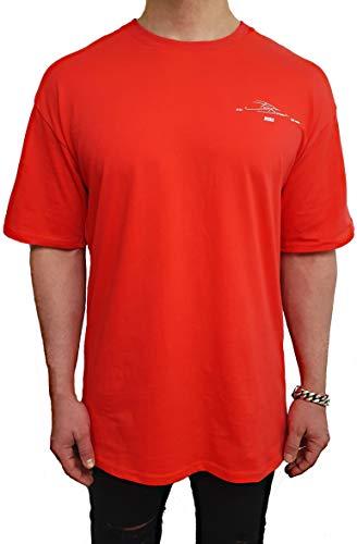 Oversize Kapuzen Longsleeve Shirt Deep Long-Shirt Herren Sweatshirt eiweiss NEU Sweat-Jacke schwarz Pullover langes m h Kapuzenpullover Pulli (XL, Rot - weiß)