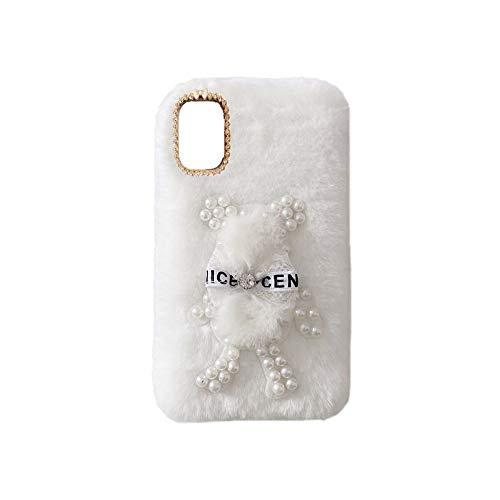 YHY Funda Teléfono Pearl Bear Plush para Cubot X30 Carcasa De Felpa De Silicona Suave y Elegante La Piel Blanco