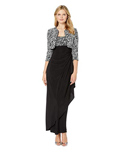 Alex Evenings Women's Empire Waist Dress with Side Ruched Skirt and Jacket (Petite and Regular Sizes), Black/White, 14