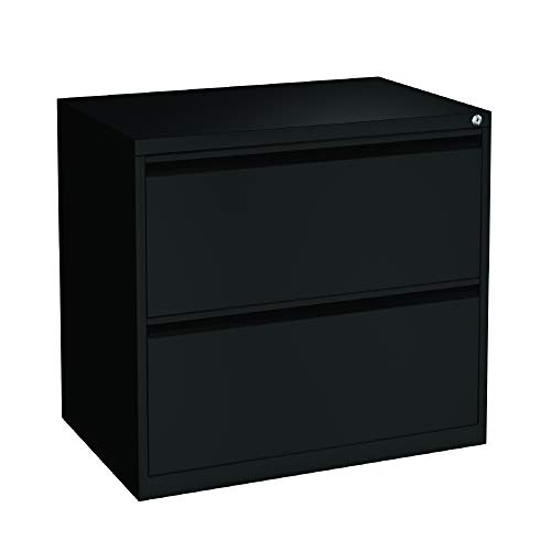 OfficeSource 2 Drawer Lateral File Cabinet with Interlock System for Office Storage, Heavy Duty Design with Black Finish, Full Pull Drawer System