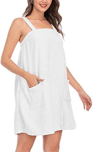 Toalla de baño para mujer, albornoz de ducha, bata de baño, spa, gimnasio, pareo suave, bata de playa, falda de baño (blanco, extragrande)