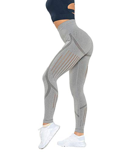 Redqenting Women's High Waist Seamless Leggings Ankle Yoga Pants Squat Proof Tights Gray