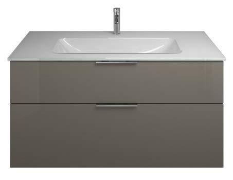 Burgbad Eqio Glas-Waschtisch inklusive Waschtischunterschrank SEYX122, Breite 1220 mm, Farbe (Front/Korpus): Grau Hochglanz/Grau Glänzend, Griff G0146 - SEYX122F2010G0146