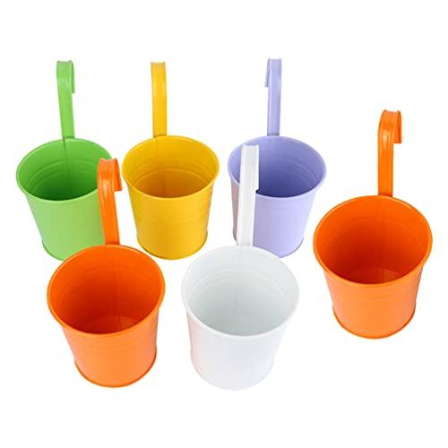BESTonZON Vaso di Fiori in Metallo 6 Pezzi Colorati di Metallo Appeso Vasi di Piante Recinto di Fiori Vasi da Giardino di Fiori Appeso Supporto per Esterno con Staccabile Gancio