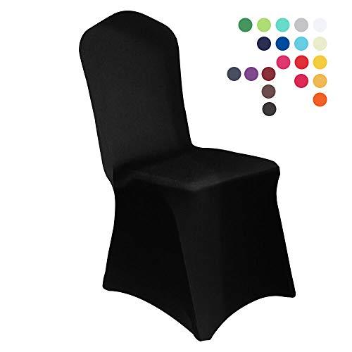 HAORUI Spandex Stretch Lycra Stuhlhussen Set von 4 modernen Polyester Lycra Stuhl-Schonbezüge für Hochzeit Party Jubiläum Dinning Dekoration (eine Packung mit 4, schwarz)