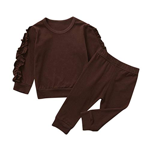 uBabamama Pajamas Set for 0 3 Years Toddler Kids Baby Girls Ruffled Long Sleeve Sweatshirt Tops Solid Color PantsBrown2 3 Years110