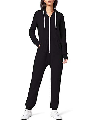 Urban Classics Damen Overall Jumpsuit Sweat Small Blk/Wht