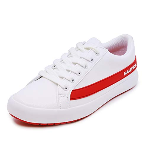 Nautica Endesha Women Lace - Up Fashion Sneaker Casual Shoes-White/Red- 9.5
