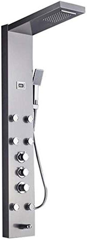 WG schwarz Nickel Regenfall Wasserfall Duschpaneel Massagedüsen Duschsule Thermostatmischer Duschhahn Turm Duschwanne