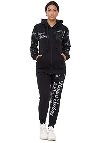 John Kayna Damen Trainingsanzug Jogginganzug Sportanzug Modell 3677 Schwarz Camouflage M