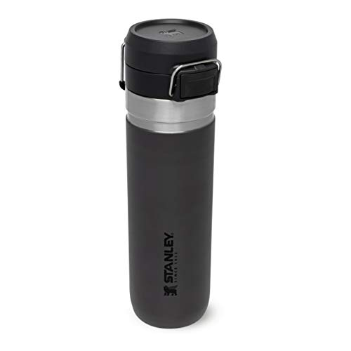 Stanley Quick Flip Water Bottle .71L / 24OZ Charcoal Leakproof - Stainless Steel Water Bottle - Push Button Locking Lid - BPA - Cup Holder Compatible - Dishwasher Safe -