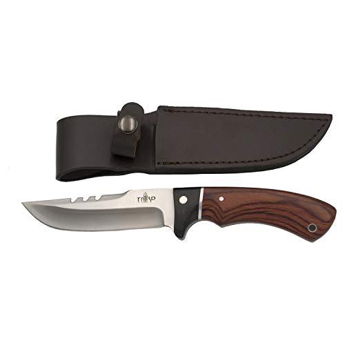 THIRD Cuchillo de Caza 13572PW, con Hoja de Acero 440 de 12,4 cm Acabado Satinado, Mango de pakkawood y Madera Negra. Incluye Funda de Piel