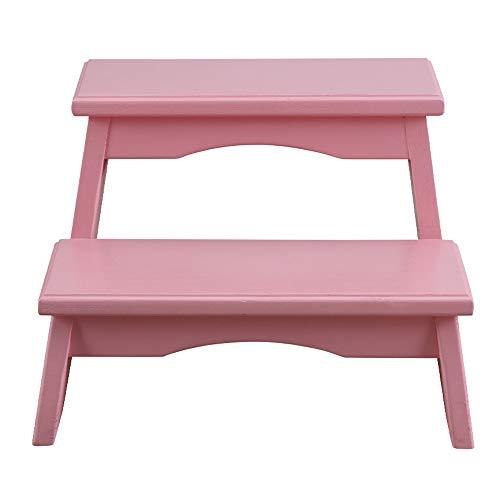 Stool Ladder- Escabeaux pour enfants en bois massif Repose-pieds chaise de salle à manger rose pour enfants