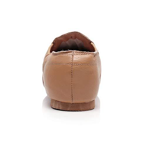 DoGeek Jazzschuhe Damen Tanzschuhe Leder, zum hineinschlüpfen, Geteilte Sohle für Kinder und Erwachsener - 4
