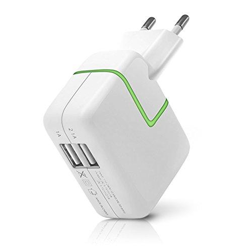 Seluxion - Cargador para casa con 2 puertos USB, luz verde indicador de carga, cargador universal para tablet y smartphone Sony Xperia Z4, Sony Xperia Z3 Tablet, Sony Xperia XZ