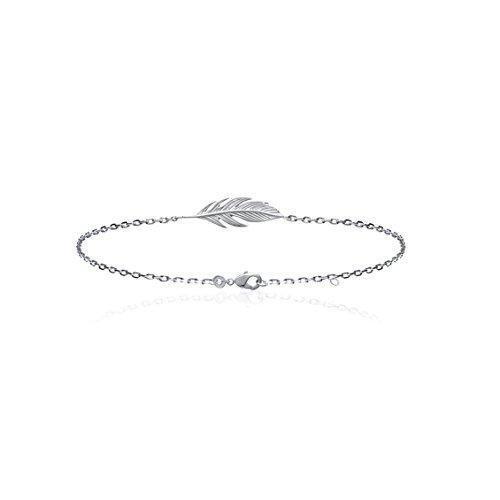 Smeraldo Damen Armband Silber Feder | Armkette mit Feder Motiv - 925 Sterlingsilber