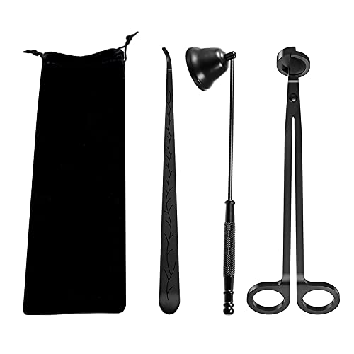 AuroTrends Candle Accessory Set, Candle Wick Trimmer Set, Candle Cutter, Candle Snuffer, Candle Wick Dipper with Storage Bag, 3 in 1 Candle Tool Kit, Great for Scented Candles Lovers (Matte Black)
