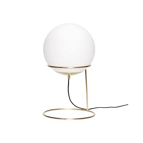 HÜBSCH - Lampe a poser retro sphere boule blanche laiton dore hubsch