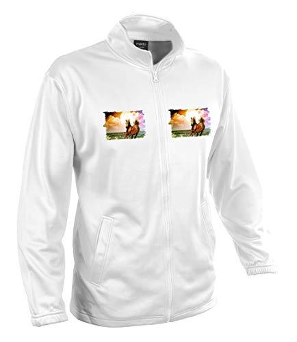 MERCHANDMANIA Chaqueta Tecnica con 2 Dibujos Caballo ARABE Raza Caballos 2 Logos Jacket