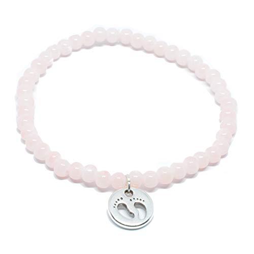 Perlen Armband in zart Rosa mit Baby-Füßchen Anhänger in Silber von SelfmadeJewelry - Handmade Armkettchen aus Glasperlen
