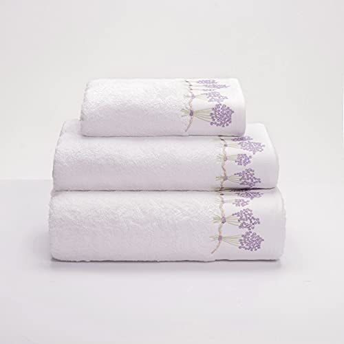 Sancarlos Lilac- Toalla de Lavabo, 100% Algodón Rizo, Color Blanco, Tamaño 50x100 cm