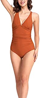 CASTDREAM Women's V-Neck Ruched Tankini Striped One Piece Swimsuits Brown Small [並行輸入品]